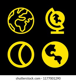 4 sphere icons with global planetary sphere with continent and moon in this set