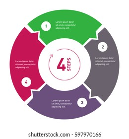 4 step process circle infographic. Template for diagram, annual report, presentation, chart, web design.