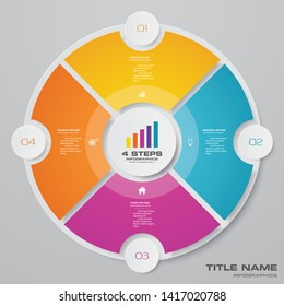 4 steps cycle chart infographics elements for data presentation. EPS 10.