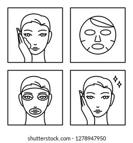 4 steps how to use facial sheet mask. Skin care. Vector icons.