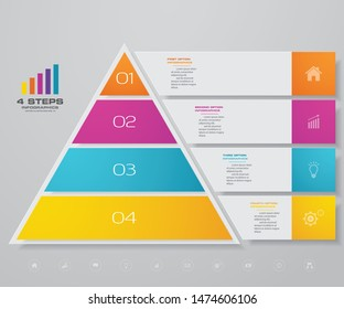 4 steps pyramid with free space for text on each level. infographics, presentations or advertising. EPS 10.