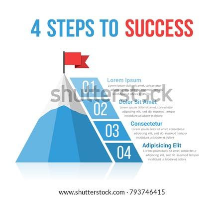 4 steps success infographics leadership motivation のベクター画像