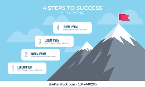 4 steps to success with mountain illustration, infographic element vector, can be used for describing how to reach goal, how to be succesful people, etc.