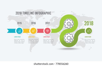 4 Steps Timeline Infographic Design with Gears and Icons for Data Visualization Vector Illustration