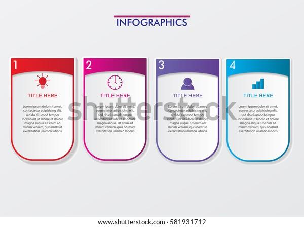 4 Steps Timeline. Modern Business Infographics.Label, Concept, Layout Vector Design