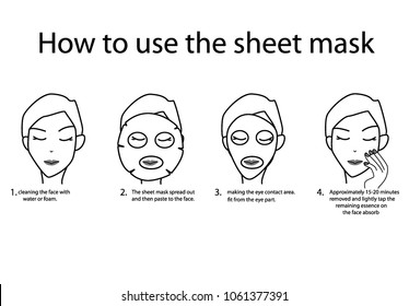 4 Steps to Using sheet mask.  On the White background. Skin food for women. concept:Skin Care,Facial treatment mask.beauty, White skin,Facial rejuvenation