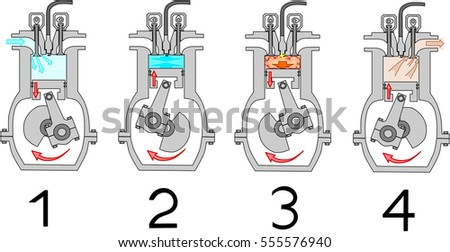 4 stroke internal combustion engine diagram stock vector. Black Bedroom Furniture Sets. Home Design Ideas