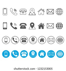 4 Style Contact information Icons in Vector Format