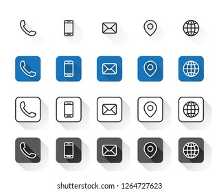 4 Style Contact Information Icons