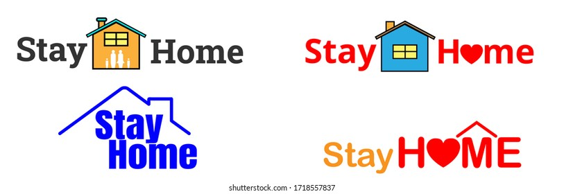 4 style Stay home for campaign Protection from coronavirus, COVID-19. Stay home quote text. Self isolation appeal as sign or symbol, Vector illustration.