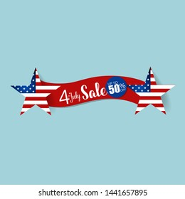 4 th of July. Happy independence day sale banner template design.