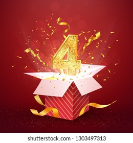 4 th year number anniversary and open gift box with explosions confetti isolated design element. Template four fourth birthday celebration on red background vector Illustration.