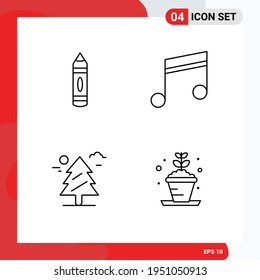 4 Thematic Vector Filledline Flat Colors and Editable Symbols of drawing; tree; sketch; music; canada Editable Vector Design Elements