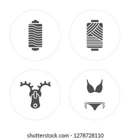 4 Thread spool, Zip, Cylindrical lamp, Bikini modern icons on round shapes, vector illustration, eps10, trendy icon set.