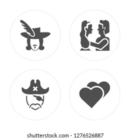 4 Three musketeers, Long john silver, Romeo and juliet, Love modern icons on round shapes, vector illustration, eps10, trendy icon set.
