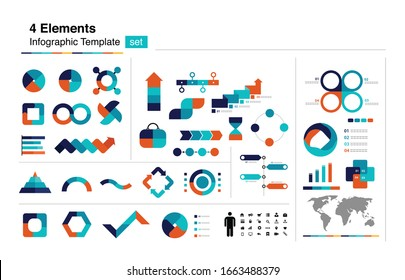4 topics, elements, choices, text box infographic element, presentation  template design with icon set