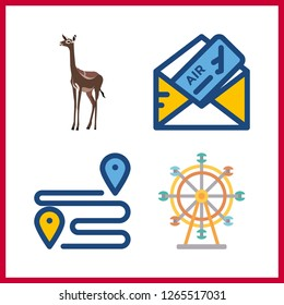 4 tourism icon. Vector illustration tourism set. plane ticket and ferris whell icons for tourism works