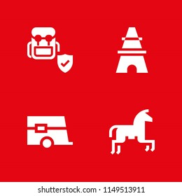 4 tourist icon set with caravan, eiffel tower and horseriding vector illustration for graphic design and web