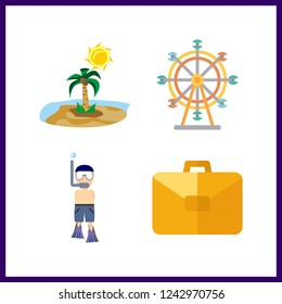4 travel icon. Vector illustration travel set. ferris whell and island icons for travel works