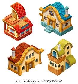 4 types of 3d isometric cottages for computer games. Vector cartoon illustration.