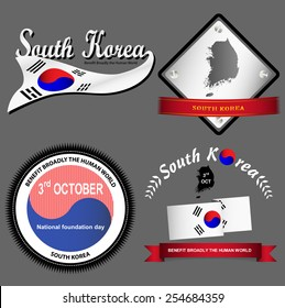 4 types of South Korea vintage logo on gray background.(EPS10 separate part by part)