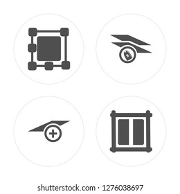 4 Ungroup, Layer, modern icons on round shapes, vector illustration, eps10, trendy icon set.