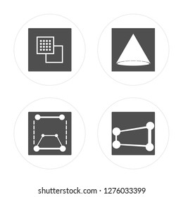 4 Ungroup, Transform, Cone, Perspective modern icons on round shapes, vector illustration, eps10, trendy icon set.