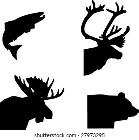 4 vector animals silhouettes