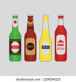 4 vector beer bottles with color
