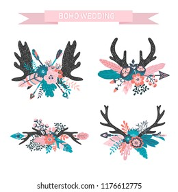 4 Vector boho floral composition - deer horns with arrow, colorful flower bouquets for wedding, anniversary, birthday, invitations, tribal native american symbol, bohemian, indian, DIY