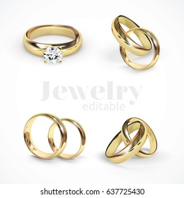 4 Vector Gold Wedding Rings