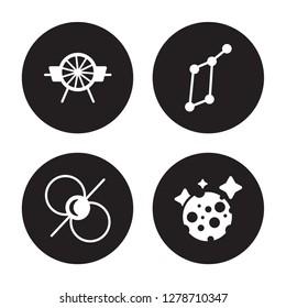 4 vector icon set : Airscrew, Pulsar, Lyra Constellation, Moon isolated on black background