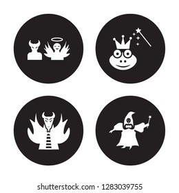 4 vector icon set : antagonist, myth, enchantment, fairy godmother isolated on black background