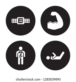 4 vector icon set : Athletic Strap, Anatomy, Arm, Abs isolated on black background
