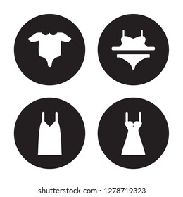 4 vector icon set : Baby Grow, Camisole, Bra & Knicker, Chemise isolated on black background