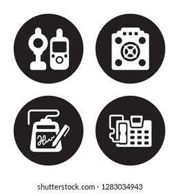 4 vector icon set : baby monitor, electronic, asic miner, answering machine isolated on black background