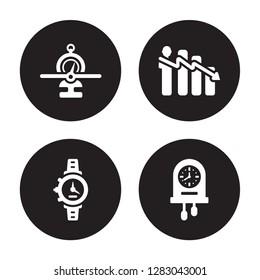 4 vector icon set : Balanced scorecard, Watch, Attrition, Wall clock isolated on black background
