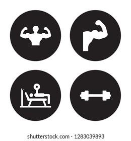 4 vector icon set : Bodybuilder, Bench press, Biceps, Barbell isolated on black background