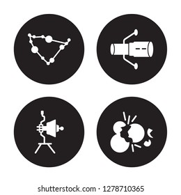 4 vector icon set : Capricorn, Voyager, Hubble space telescope, Big bang isolated on black background