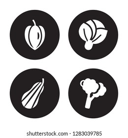 4 vector icon set : Carambola, Butternut squash, Cabbage, Broccoli isolated on black background