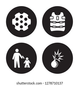 4 vector icon set : Chamber, execution, Bulletproof, Bomb Detonation isolated on black background