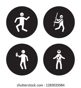 4 vector icon set : crappy human, content cool confused human isolated on black background