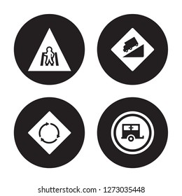 4 vector icon set : Crossing, circular intersection, steep descent, Caravan isolated on black background