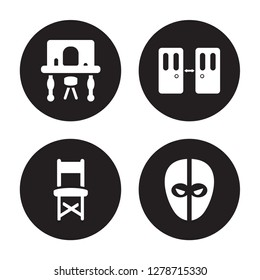 4 vector icon set : Dressing room, Director chair, Doorway, deadpool isolated on black background