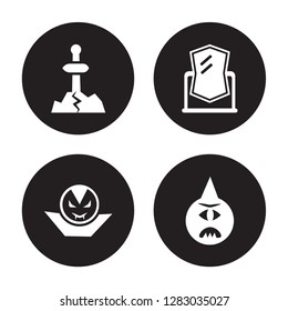 4 vector icon set : Excalibur, Dracula, Enchanted mirror, Cyclops isolated on black background