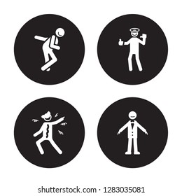 4 vector icon set : funny human, frustrated full fresh human isolated on black background