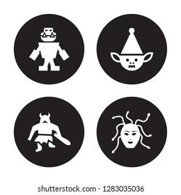 4 vector icon set : Golem, Giant, Goblin, female Medusa isolated on black background