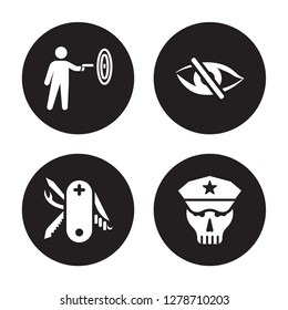4 vector icon set : gun shooting, Swiss Army Knife, stealth, Skull isolated on black background