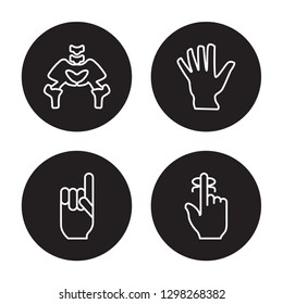 4 vector icon set : Hip Bone, Hand gesture raising the index finger isolated on black background,  Hip Bone, Hand gesture raising the index finger outline icons