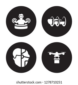 4 vector icon set : Immersive, Humanoid, Hyperloop, Hover transport isolated on black background